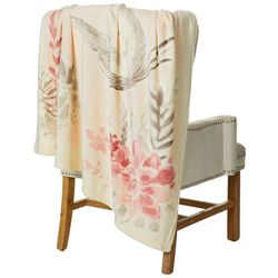 Coastal Home Floral Egret Plush Throw Blanket