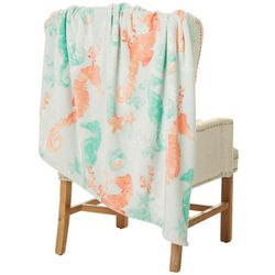 Coastal Home Seahorse Plush Throw Blanket