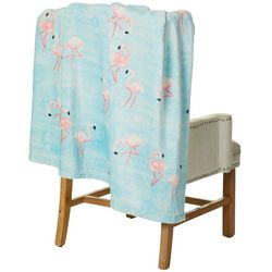 Coastal Home Flamingo Plush Throw Blanket
