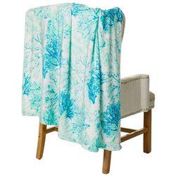 Coastal Home Reef Print Plush Throw Blanket