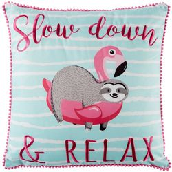 Coastal Home Sloth Flamingo Float Decorative Pillow