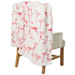 Thro Flamingo All Over Fleece Decorative Throw