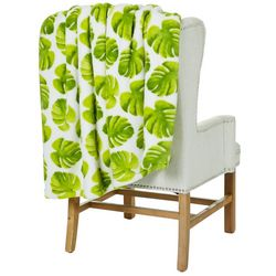 Thro Frances Leaf Loft Fleece Decorative Throw