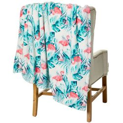 Thro Fiona Flamingo Fleece Decorative Throw