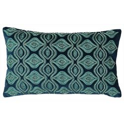 Mod Lifestyles Blue Collection Floral Beaded Pillow