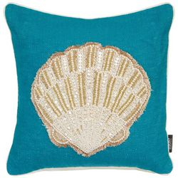 Mod Lifestyles Beaded Scallop Shell Decorative Pillow