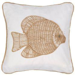 Mod Lifestyles Burlap Embroidered Fish Decorative Pillow
