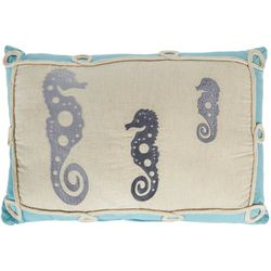 Pisces Global Embroidered Seahorse Trio Decorative Pillow