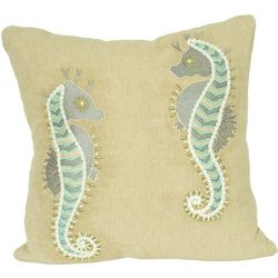 Pisces Global Beaded Seahorse Pair Decorative Pillow