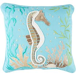 Pisces Global Beaded Seahorse Decorative Pillow
