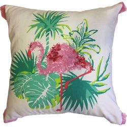 Pisces Global Embroidered Flamingo Decorative Pillow