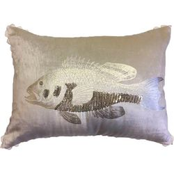 Pisces Global Goldl Beaded Fish Decorative Pillow