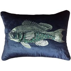 Pisces Global Beaded Fish Decorative Pillow