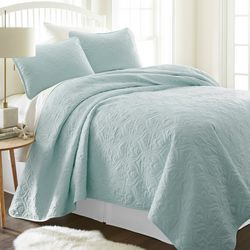 Home Collections Premium Soft Damask Quilted Coverlet Set