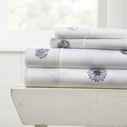 Home Collections Premium Ultra Soft Indigo Flowers Sheet