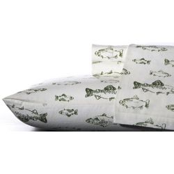 Eddie Bauer School of Fish Flannel King Sheet Set
