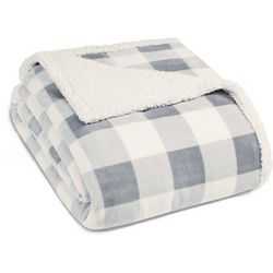 Eddie Bauer Grey Mountain Plaid Sherpa Blanket