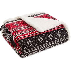 Eddie Bauer Fair Isle Sherpa Throw Blanket