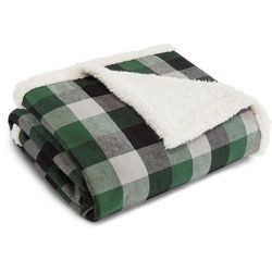 Eddie Bauer Finley Plaid Flannel Sherpa Throw Blanket