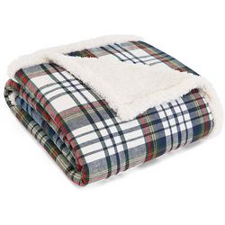 Eddie Bauer Anderson Plaid Flannel Sherpa Throw Blanket