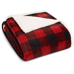 Eddie Bauer Red Mountain Plaid Sherpa Blanket