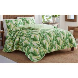 Tommy Bahama Anguilla Botanical Bright Green Quilt Set