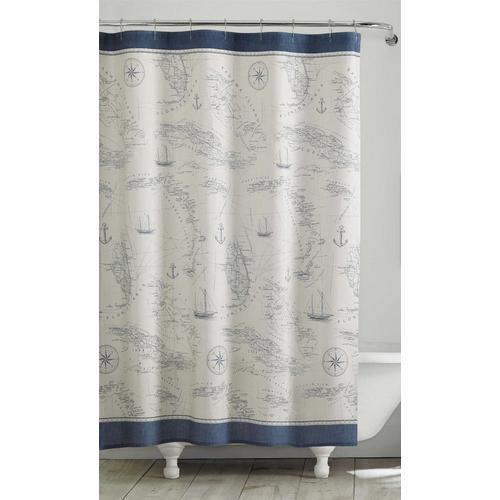Tommy Bahama Caribbean Sea Blue Shower Curtain
