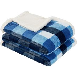 Nautica Herringbone Check Plaid Throw Blanket