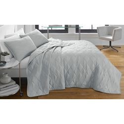 City Scene Checker Stitch Grey Quilt Set
