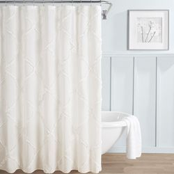 Laura Ashley Adelina Ruffle Diamond Shower Curtain