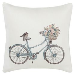 Laura Ashley Natural Bicycle 20'' x 20'' Decorative Pillow