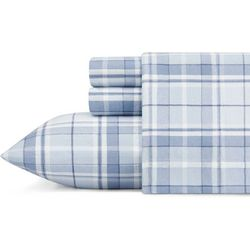 Laura Ashley Mulholland Blue Plaid Flannel Sheet Set