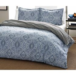 City Scene Milan Blue Full/Queen Duvet Set