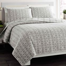 City Scene Puzzle Grey 2-pc. Twin Quilt Set