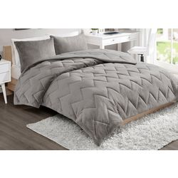 Intelligent Design Kai Solid Chevron Quilted Comforter Set