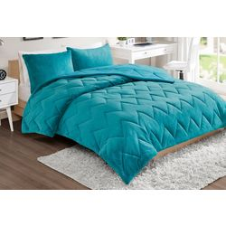 Intelligent Design Kai Solid Chevron Quilted Comforter Set