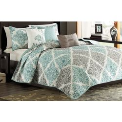 Madison Park Claire Aqua 6-pc. Coverlet Set