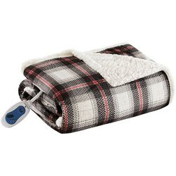 Woolrich Ridley Oversized Plaid Mink to Berber Heated Throw