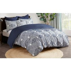 Ink & Ivy Ellipse Navy Cotton Jacquard Comforter Set