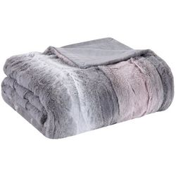Madison Park Zuri Blush/Grey Oversized Faux Fur Throw