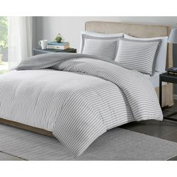 Madison Park Essentials Hayden Grey Stripe Duvet Cover Set
