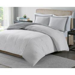 Essentials Hayden Grey Stripe Duvet Cover Set