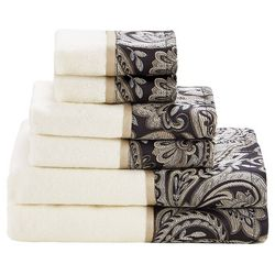 Madison Park Aubrey 6-pc. Black Jacquard Towel Set