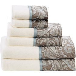 Madison Park Aubrey 6-pc. Blue Jacquard Towel Set