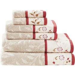 Madison Park Serene 6-pc. Embroidered Jacquard Towel Set