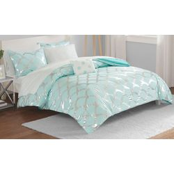 Intelligent Design Lorna Aqua Comforter & Sheet Set