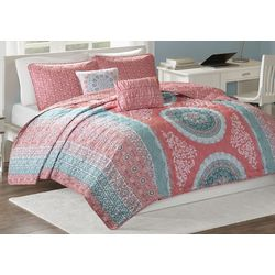 Intelligent Design Loretta Coral Coverlet Set
