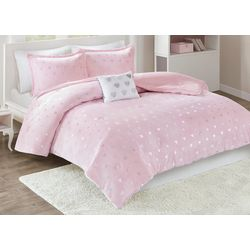 Mi Zone Rosalie Metallic Printed Plush Comforter Set
