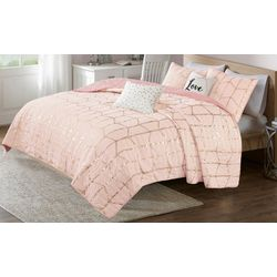 Intelligent Design Raina Metallic Printed Coverlet Set