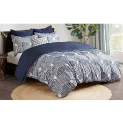 Ink & Ivy Ellipse Cotton Jacquard Navy Duvet